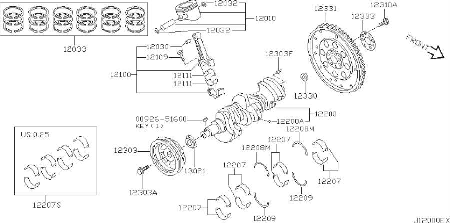 Infiniti I35 Engine Crankshaft Thrust Washer  Lower