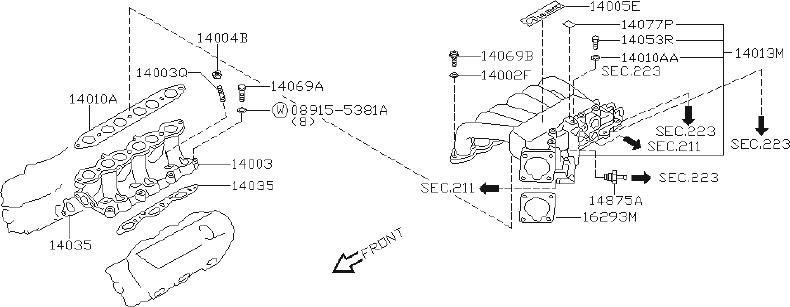Infiniti Qx4 Engine Intake Manifold Gasket  Exhaust  Cal