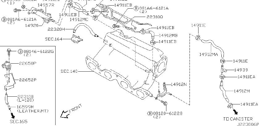 Infiniti G20 Vapor Canister Purge Solenoid  Engine  Room  Rear