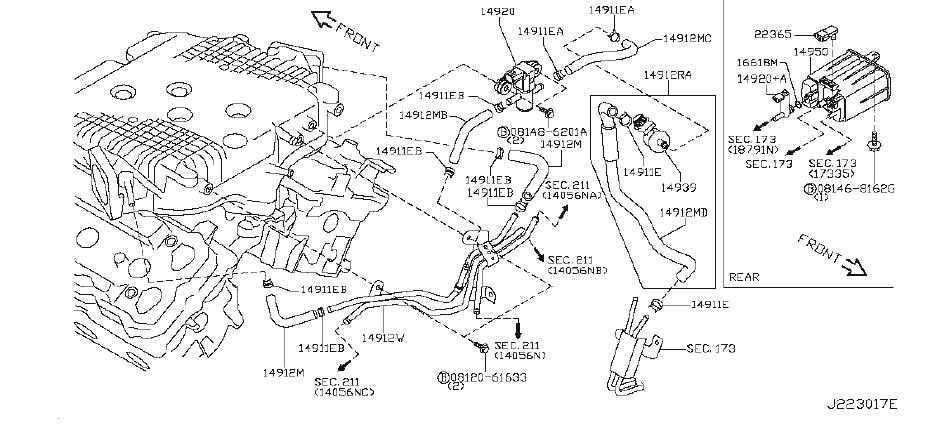 Infiniti Fx35 Evaporative Emissions System Lines  Piping