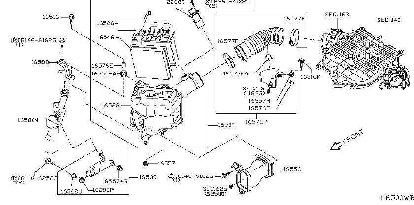 infiniti g35 engine air intake resonator