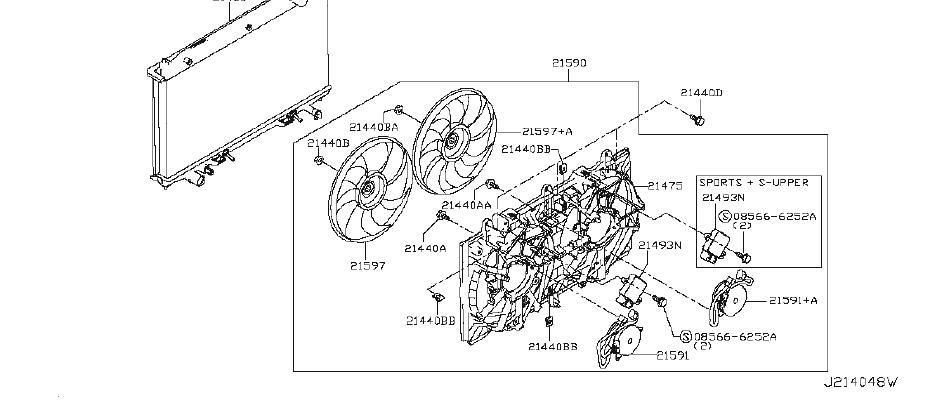 Infiniti Q50 Engine Water Pump Bracket  Fitting  Radiator  Shroud