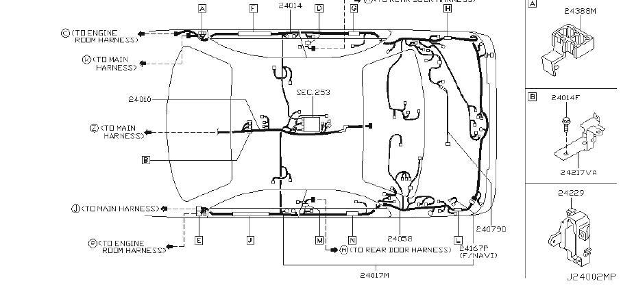 Infiniti M45 Engine Wiring Harness  Body  Main  Room