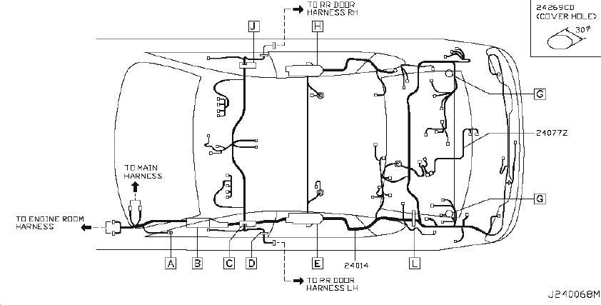 Infiniti M35 Clip Wiring Harness  Body  Battery  Room